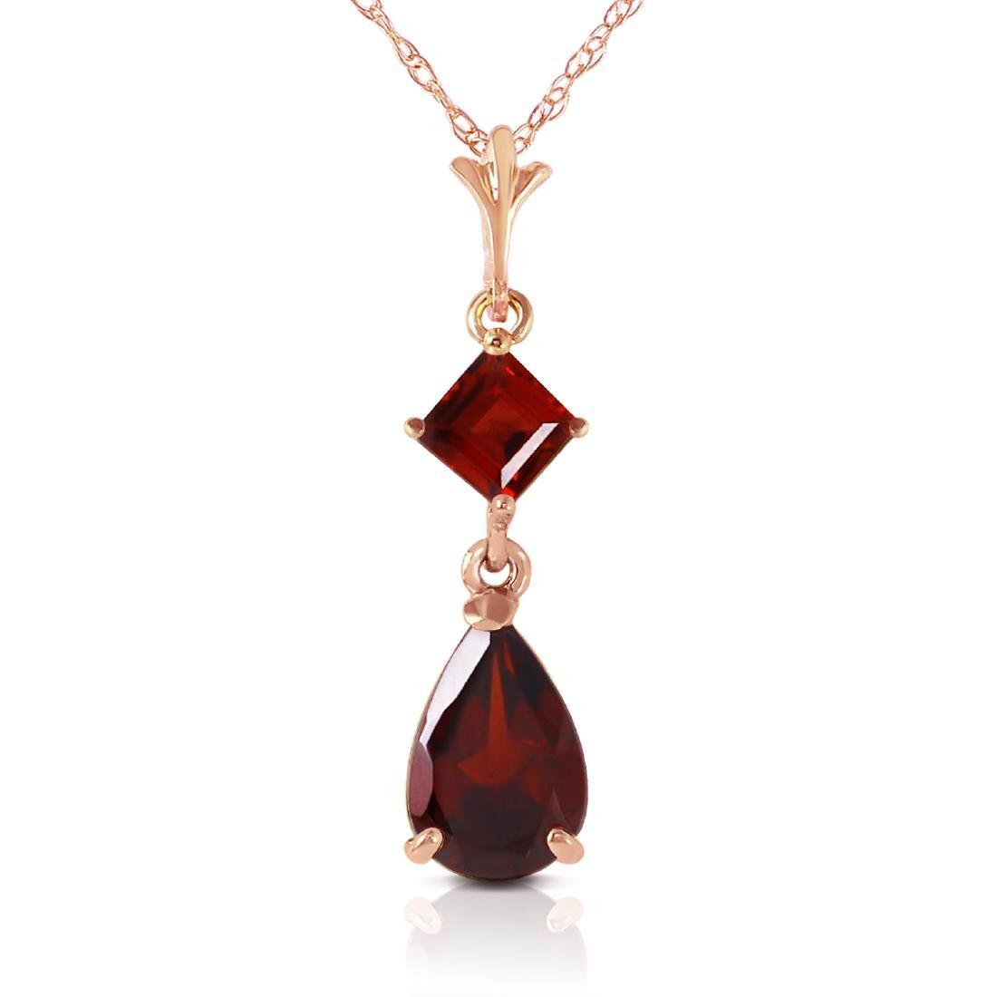 Genuine 2 ctw Garnet Necklace Jewelry 14KT Rose Gold -
