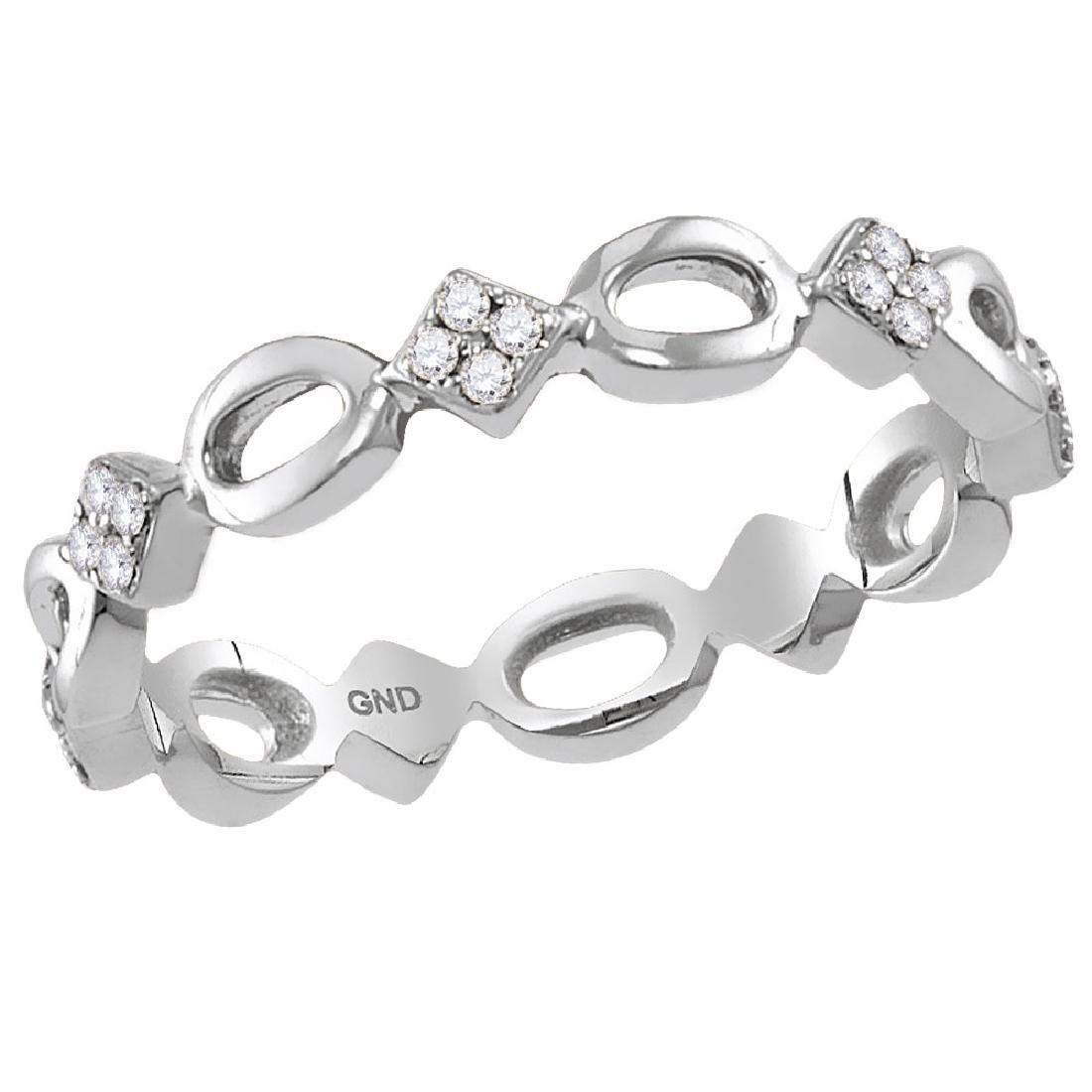 0.14 CTW Diamond Square Cluster Stackable Ring 10KT