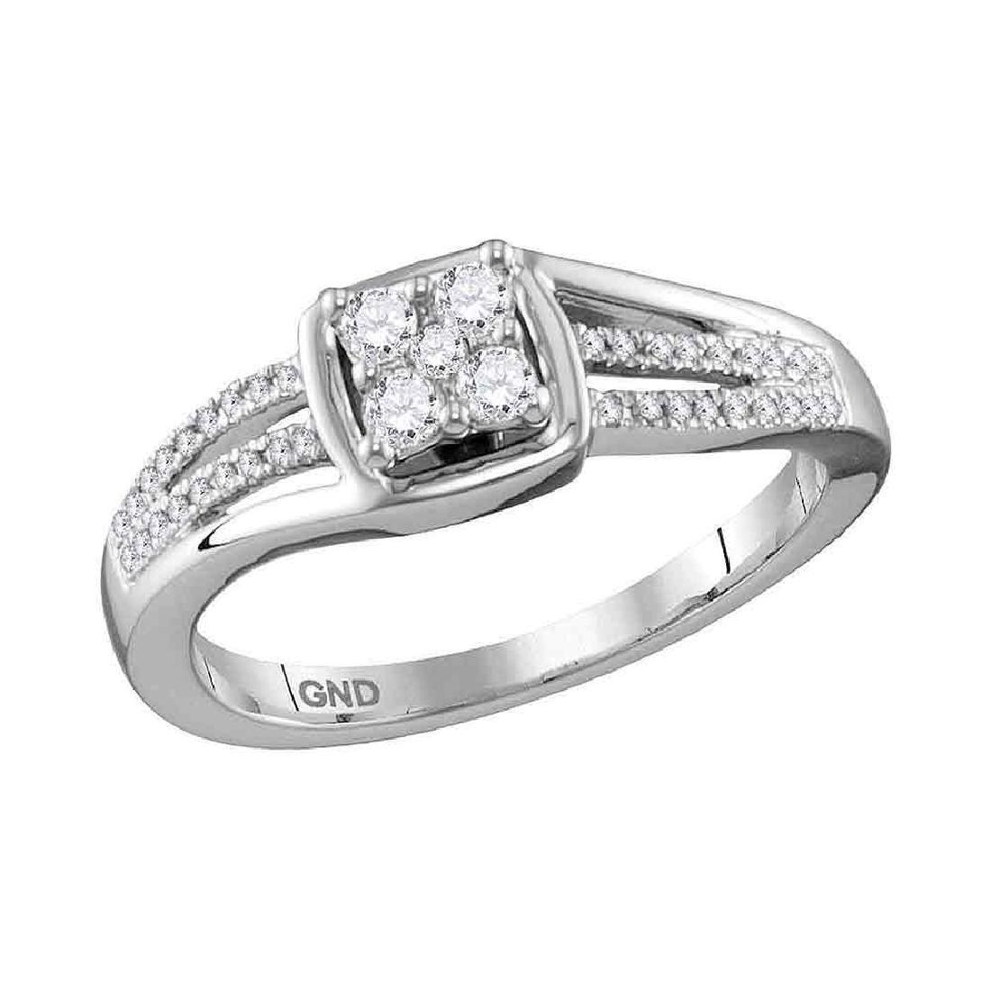 0.25 CTW Diamond Cluster Ring 10KT White Gold -