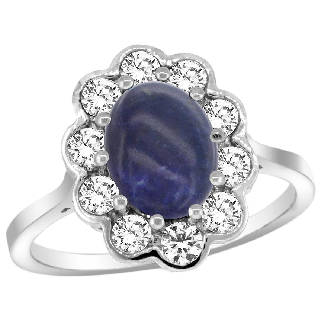 Natural 2.38 ctw Lapis-lazuli & Diamond Engagement Ring