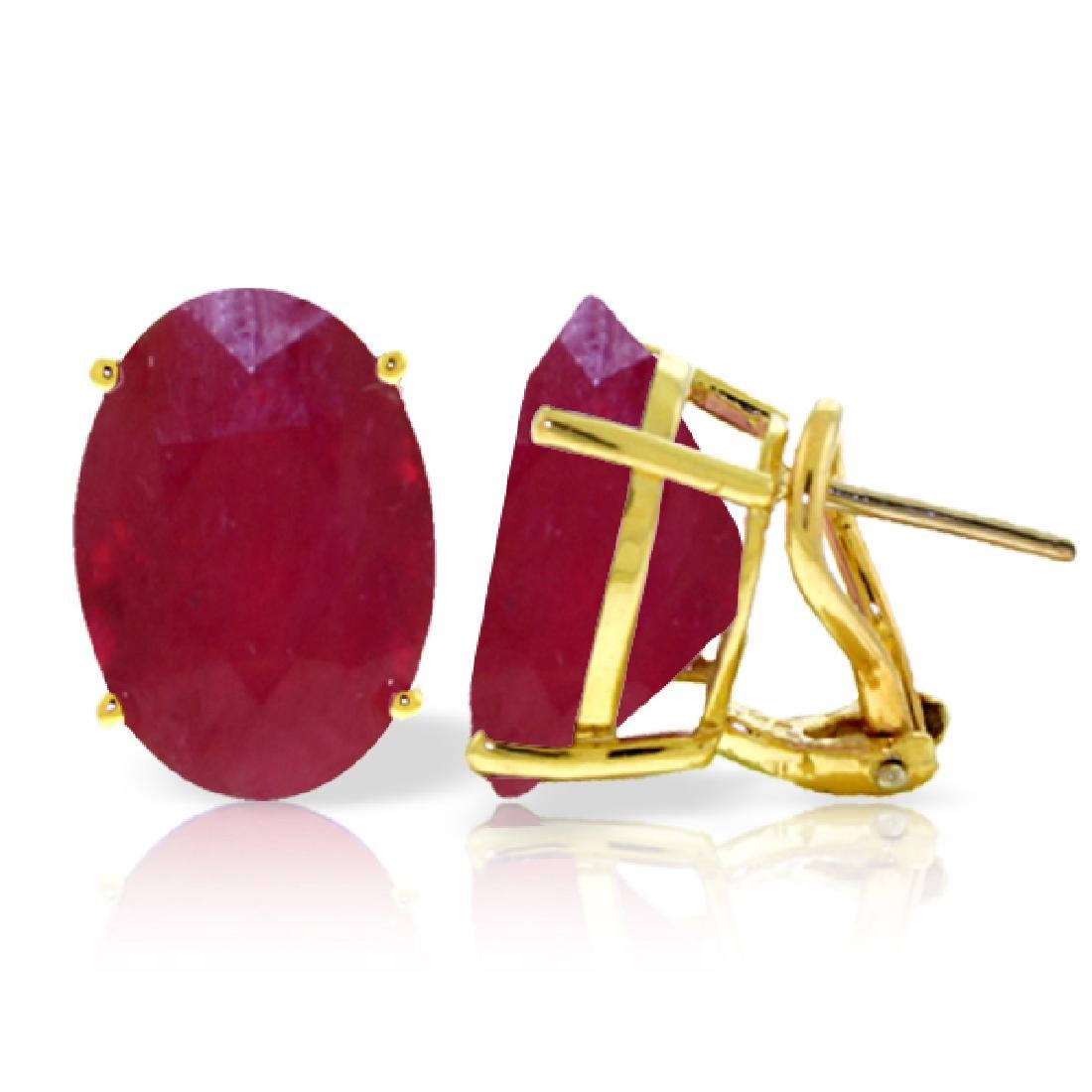 Genuine 15 ctw Ruby Earrings Jewelry 14KT Yellow Gold -