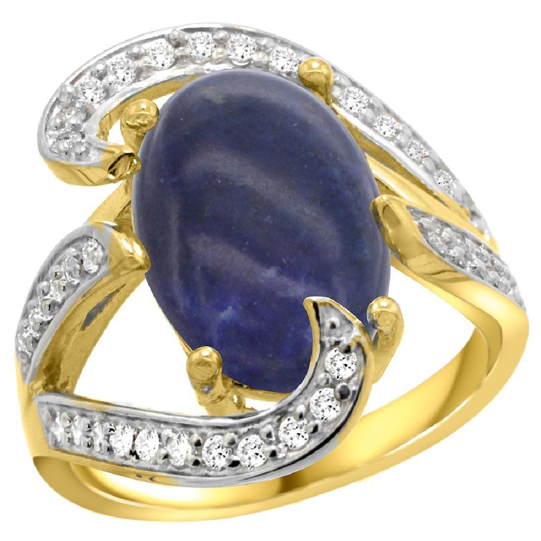 Natural 5.24 ctw lapis-lazuli & Diamond Engagement Ring