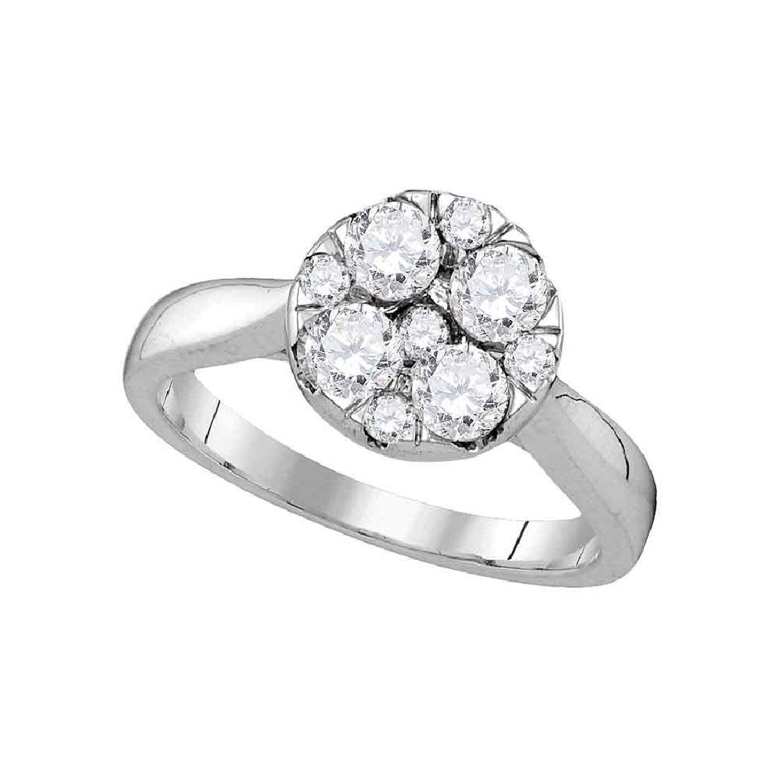 1.01 CTW Diamond Cluster Bridal Engagement Ring 14KT