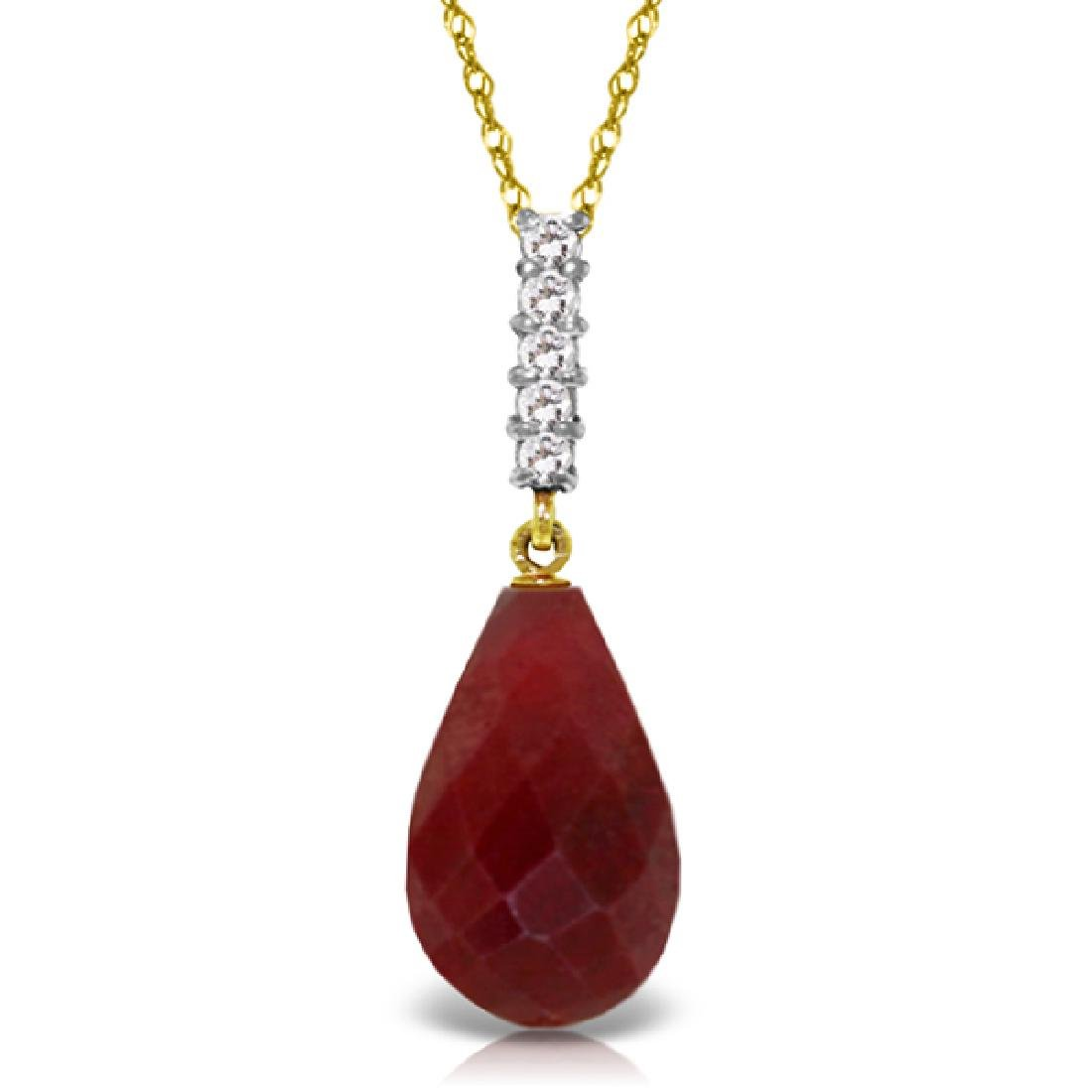 Genuine 8.88 ctw Ruby & Diamond Necklace Jewelry 14KT
