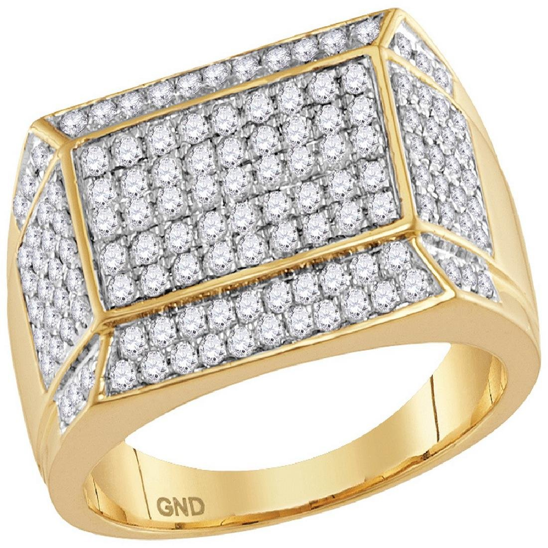1.55 CTW Mens Diamond Rectangle Cluster Ring 14KT