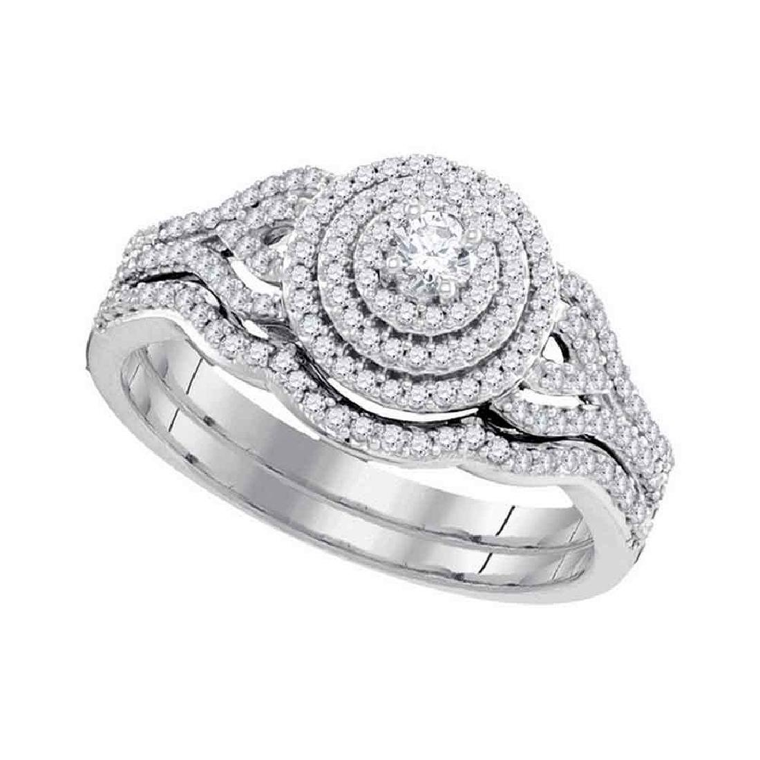 0.50 CTW Diamond Triple Halo Bridal Wedding Engagement