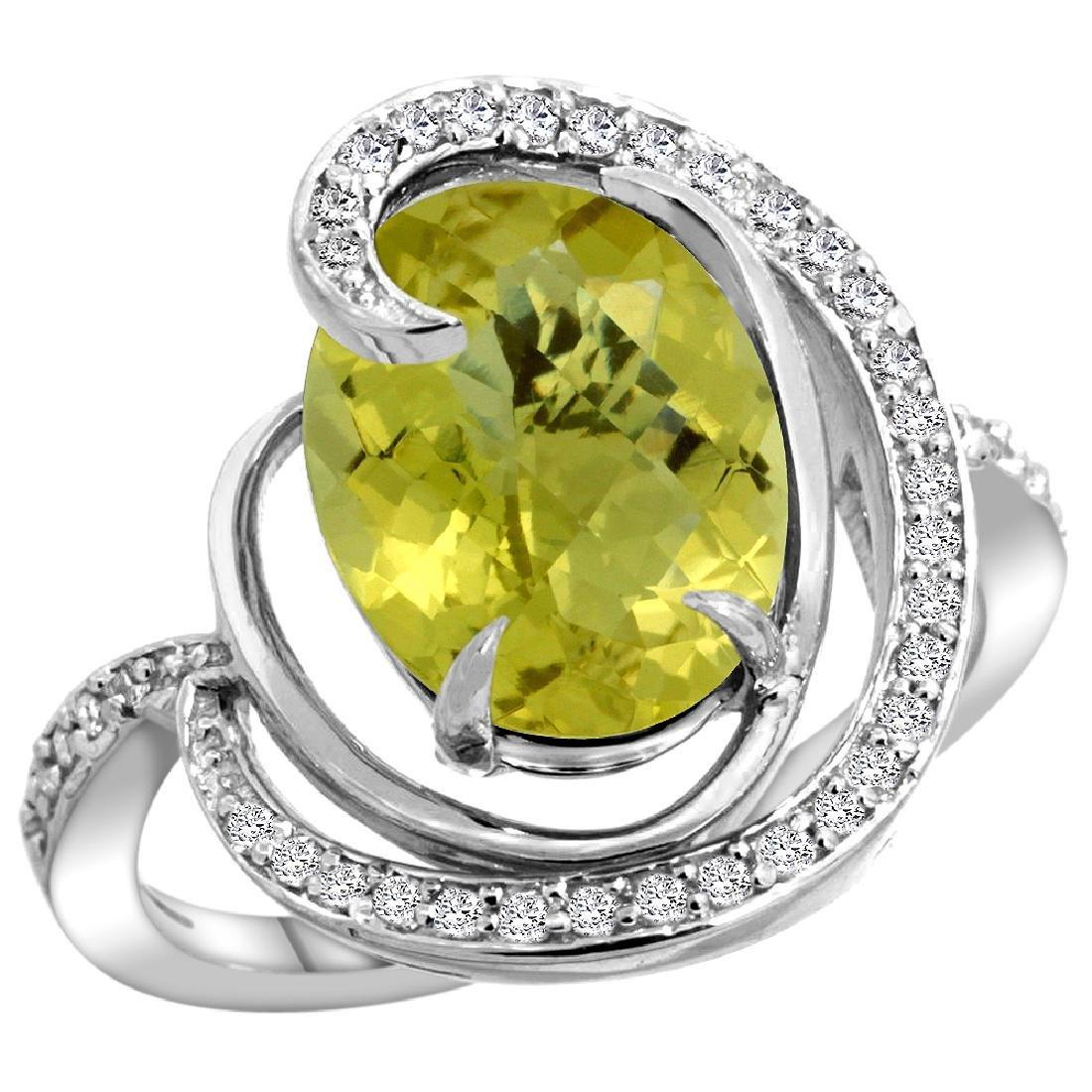 Natural 6.53 ctw lemon-quartz & Diamond Engagement Ring