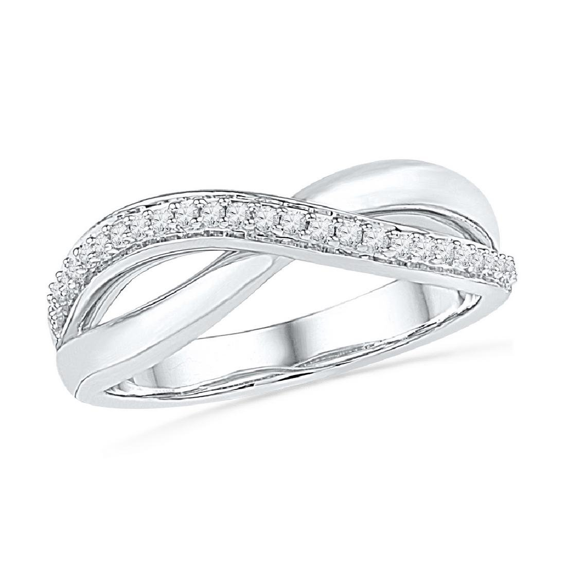 0.10 CTW Diamond Crossover Ring 10KT White Gold -