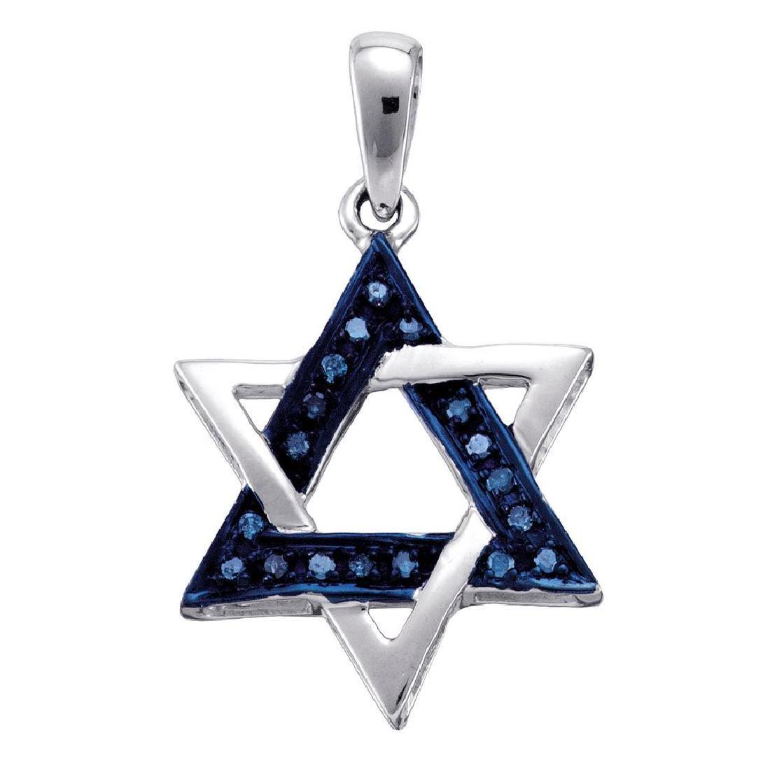 0.10 CTW Blue Color Diamond Star Magen David Heritage