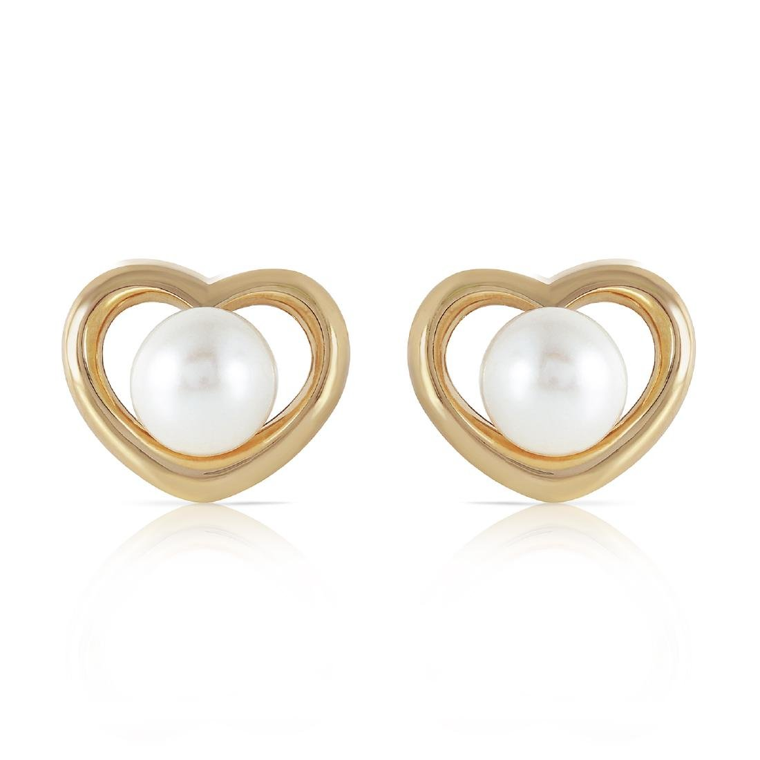 Genuine 4 ctw Pearl Earrings Jewelry 14KT Yellow Gold -