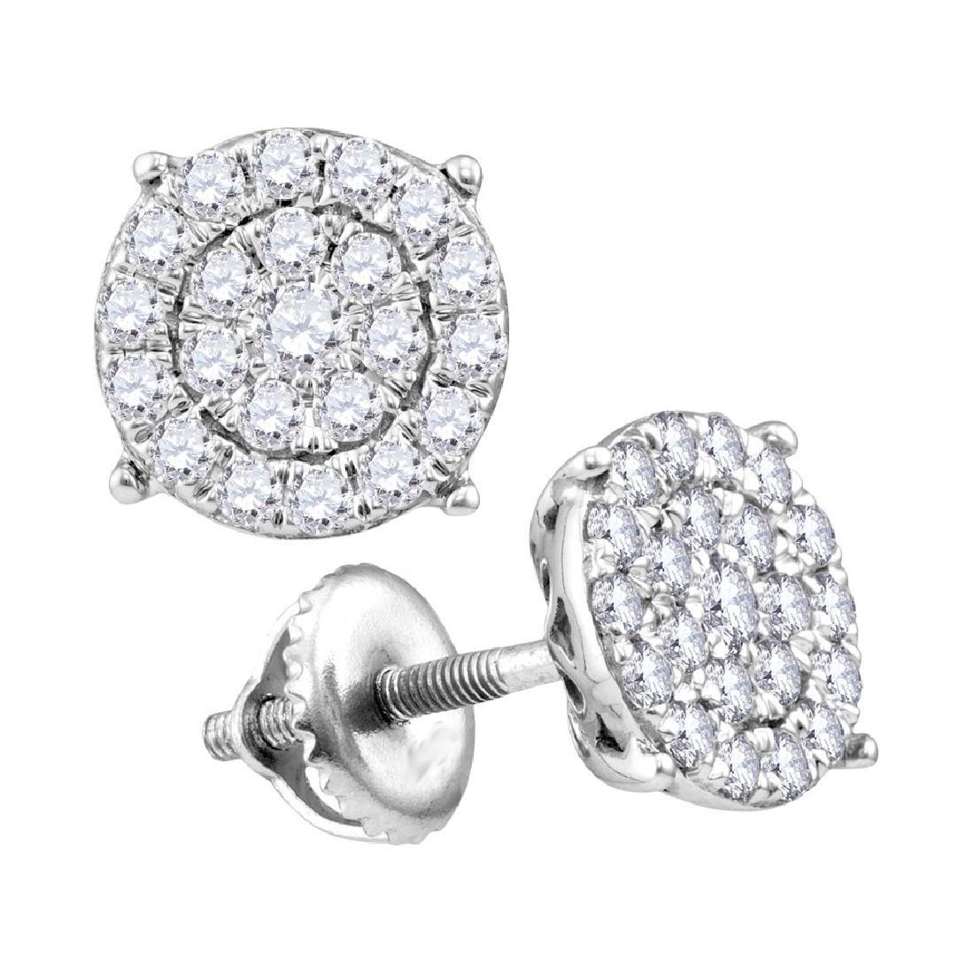 0.25 CTW Diamond Cluster Earrings 10KT White Gold -