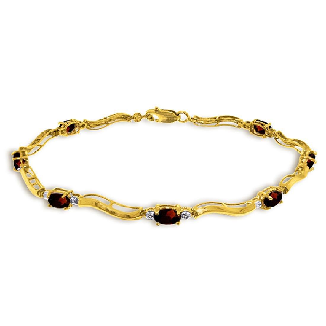 Genuine 2.01 ctw Garnet & Diamond Bracelet Jewelry 14KT