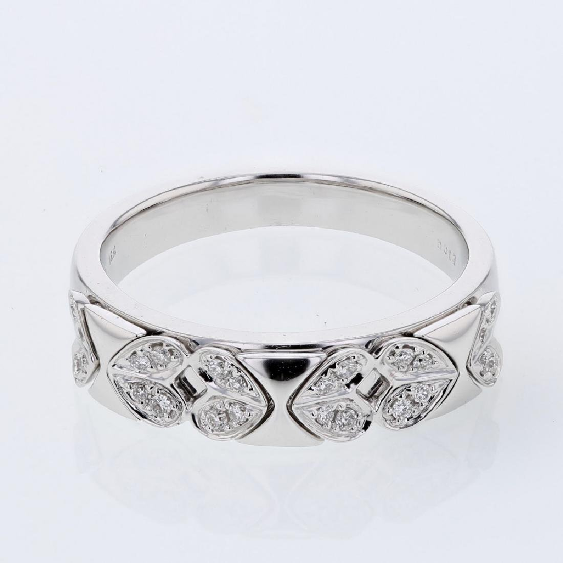 0.12 CTW Diamond Band Ring 18K White Gold - REF-48W4K