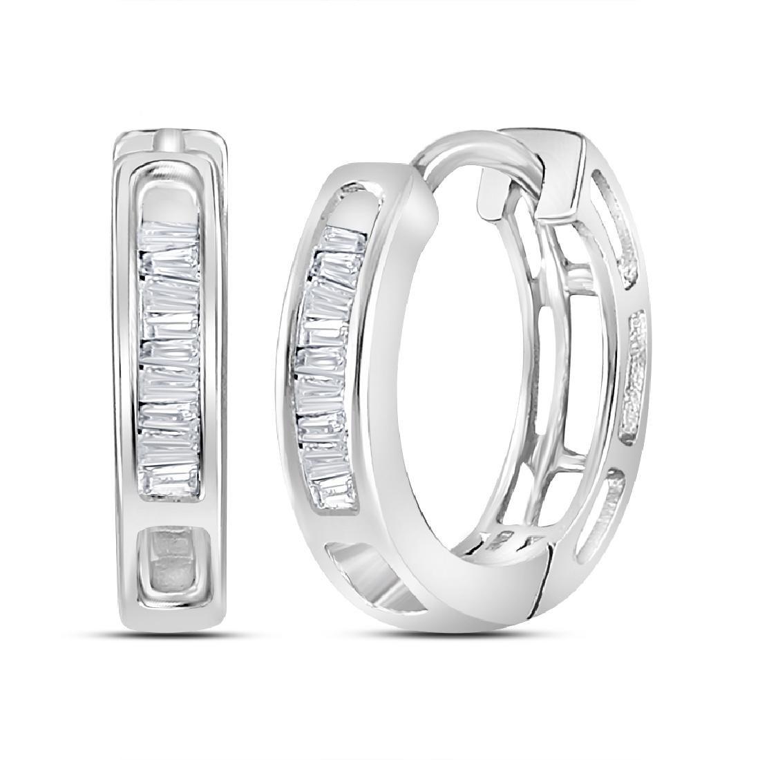 0.15 CTW Diamond Huggie Hoop Earrings 10KT White Gold -