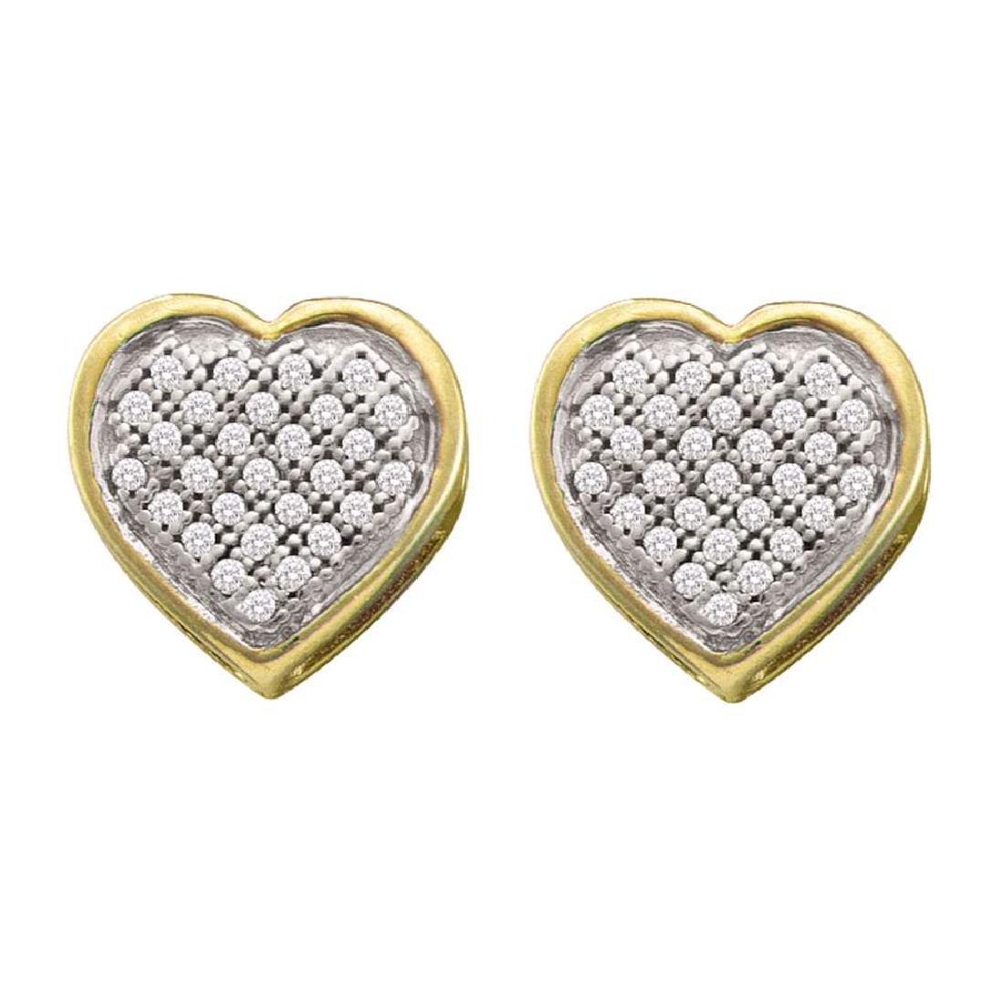 0.14 CTW Diamond Heart Earrings 10KT Yellow Gold -