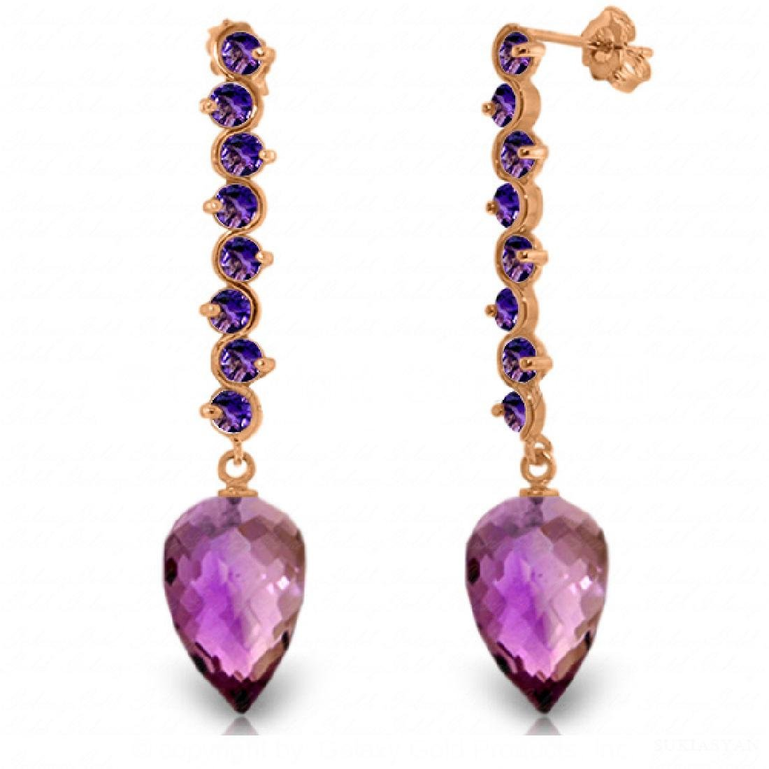 Genuine 22.1 ctw Amethyst Earrings Jewelry 14KT Rose