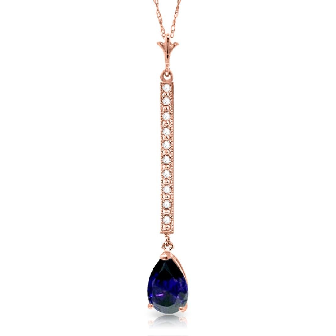 Genuine 1.80 ctw Sapphire & Diamond Necklace Jewelry