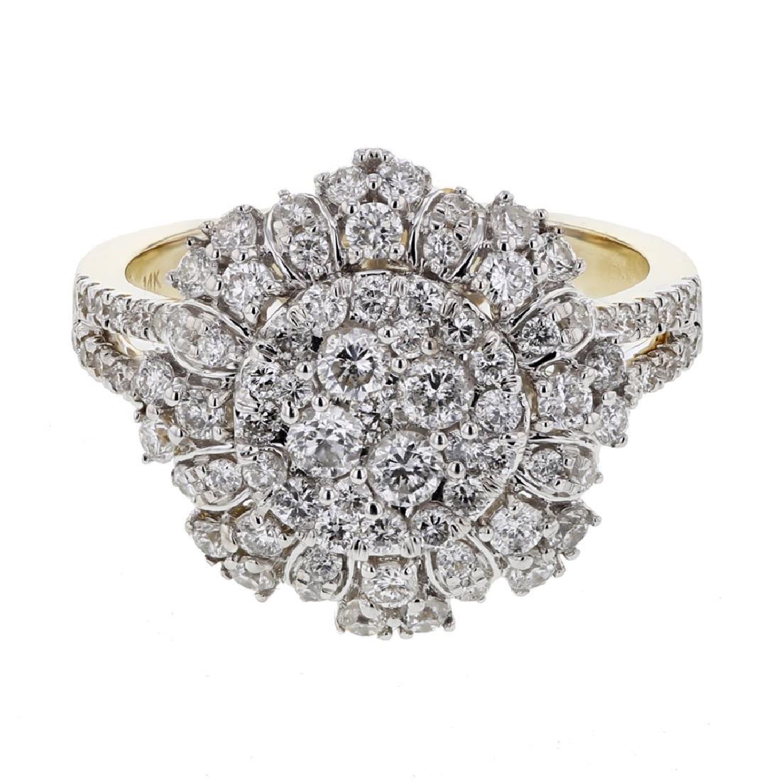 1.32 CTW Diamond Cluster Ring 14K Yellow Gold -