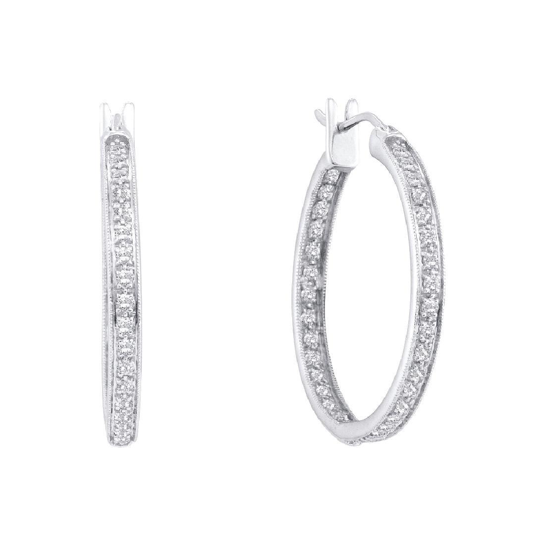 0.25 CTW Diamond In/Out Hoop Earrings 14KT White Gold -