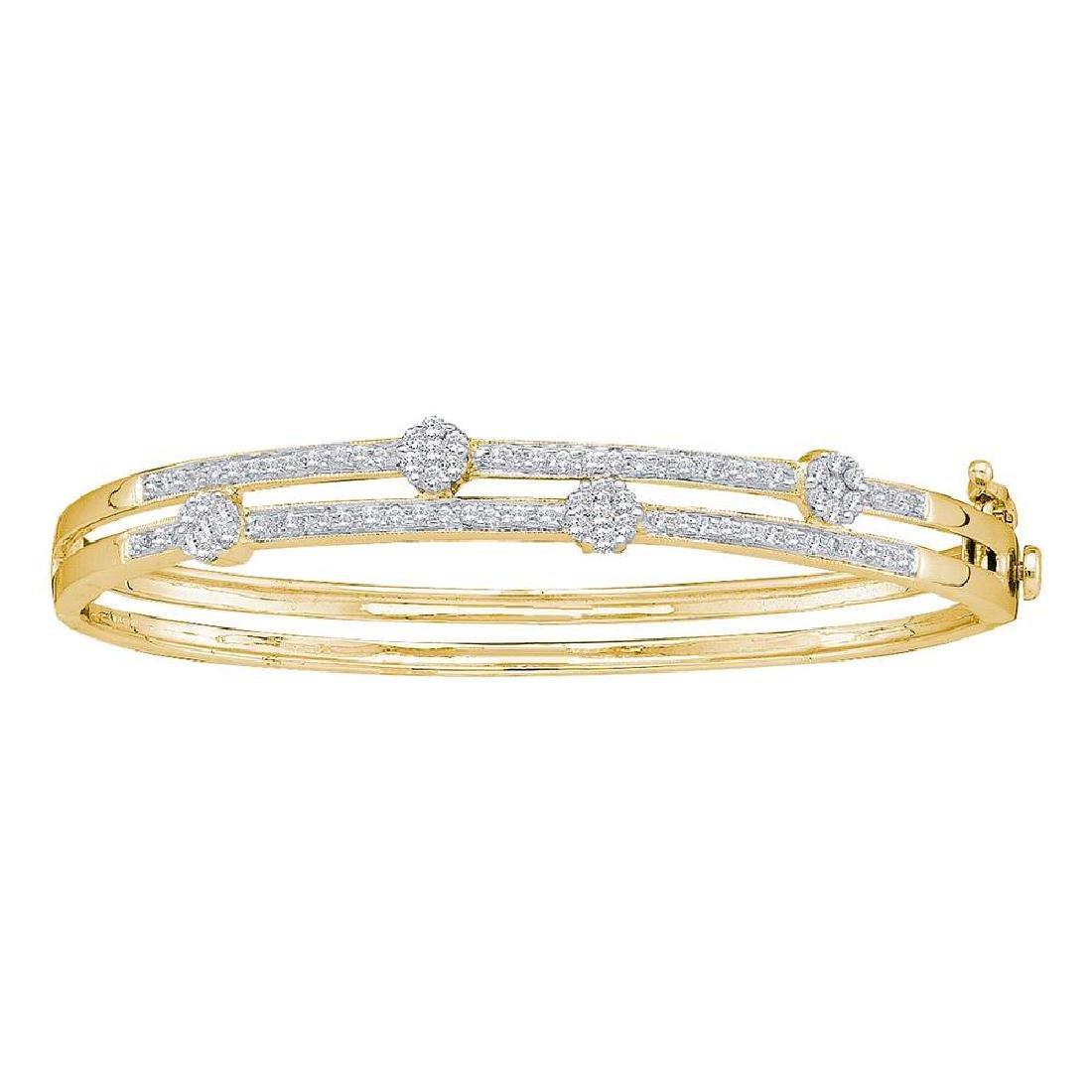 1 CTW Diamond Flower Cluster Bangle Bracelet 14KT