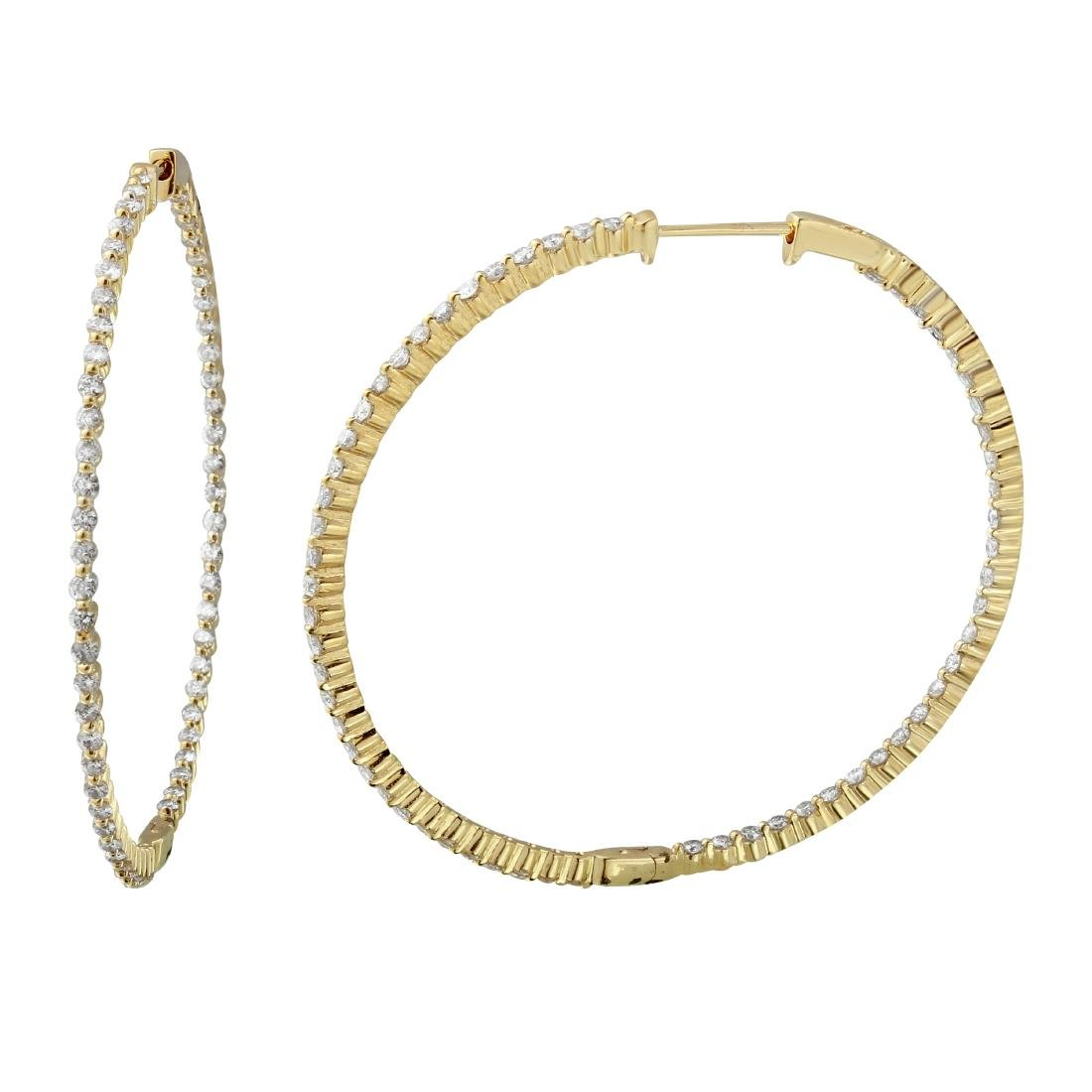 2.47 CTW Diamond Hoop Earring 14K Yellow Gold -