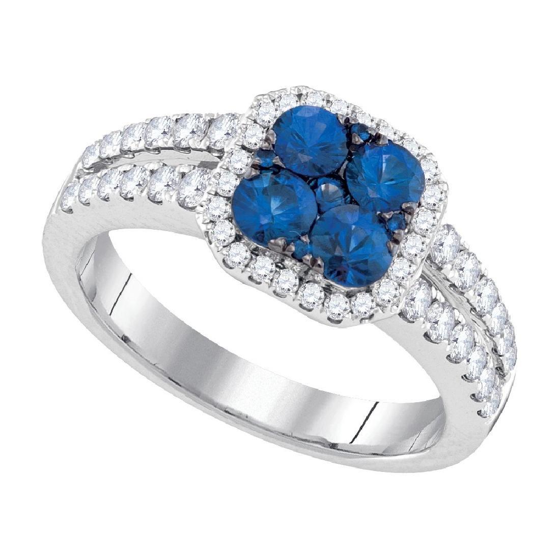1.33 CTW Blue Sapphire Cluster Diamond Halo Bridal Ring