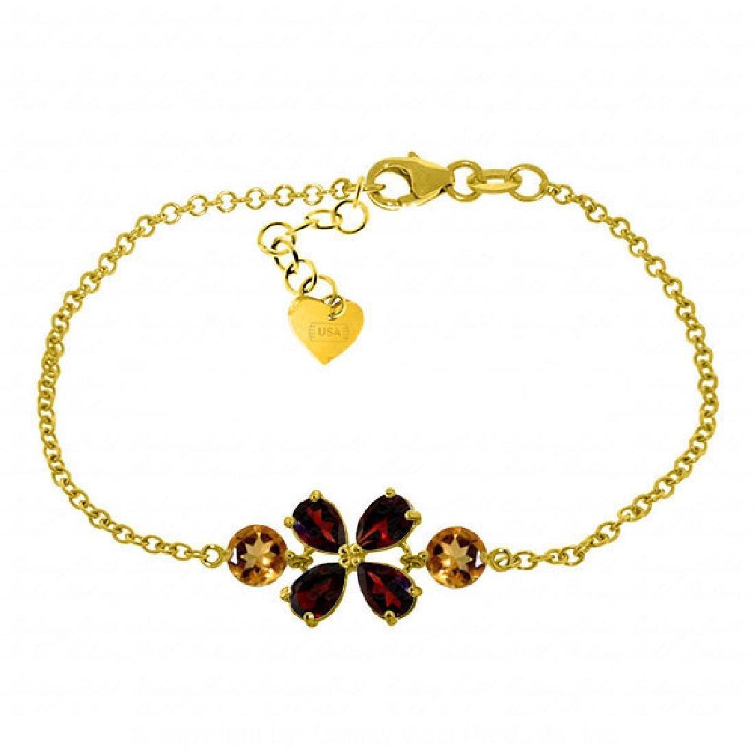 Genuine 3.15 ctw Garnet & Citrine Bracelet Jewelry 14KT