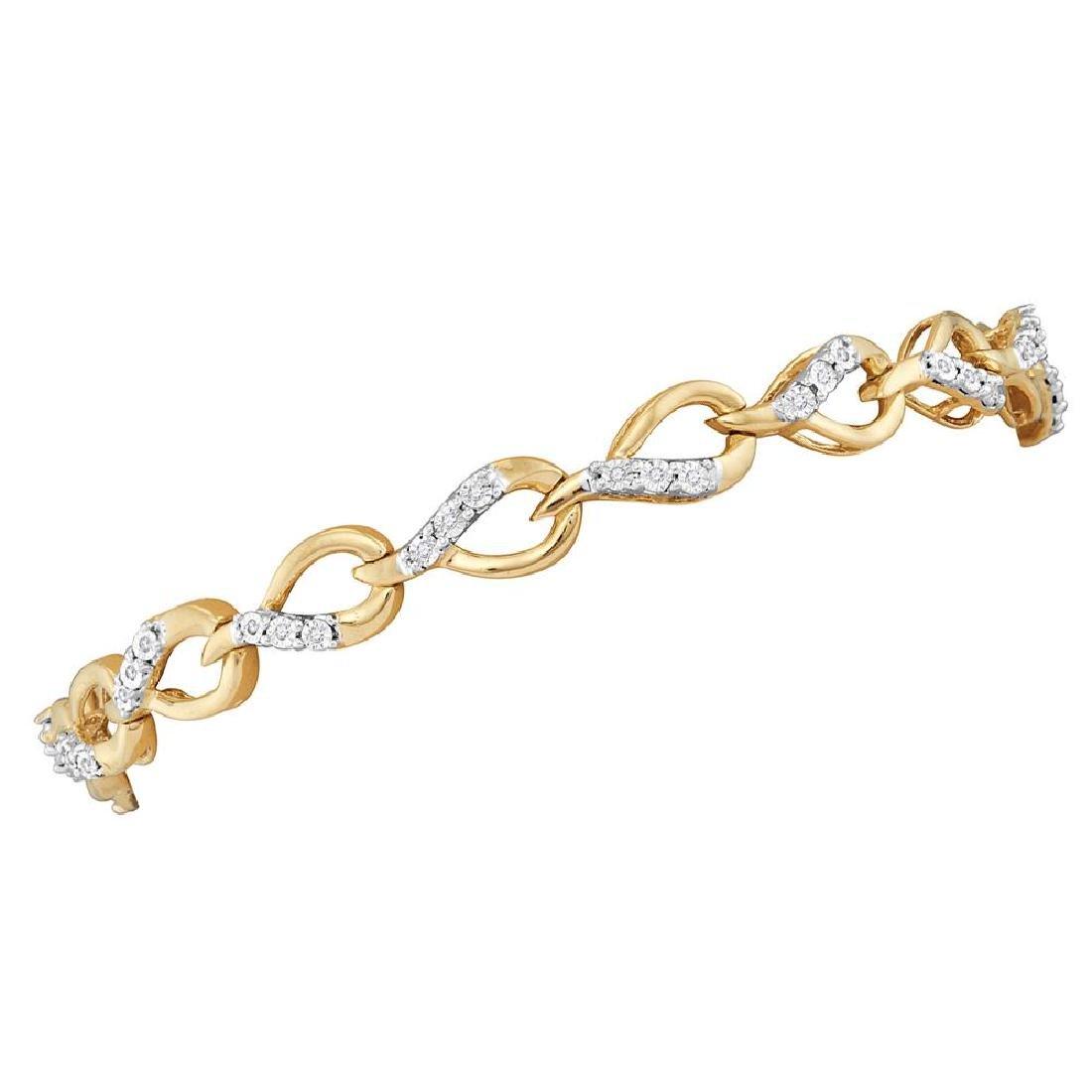 0.15 CTW Diamond Linked Teardrop Tennis Bracelet 10KT