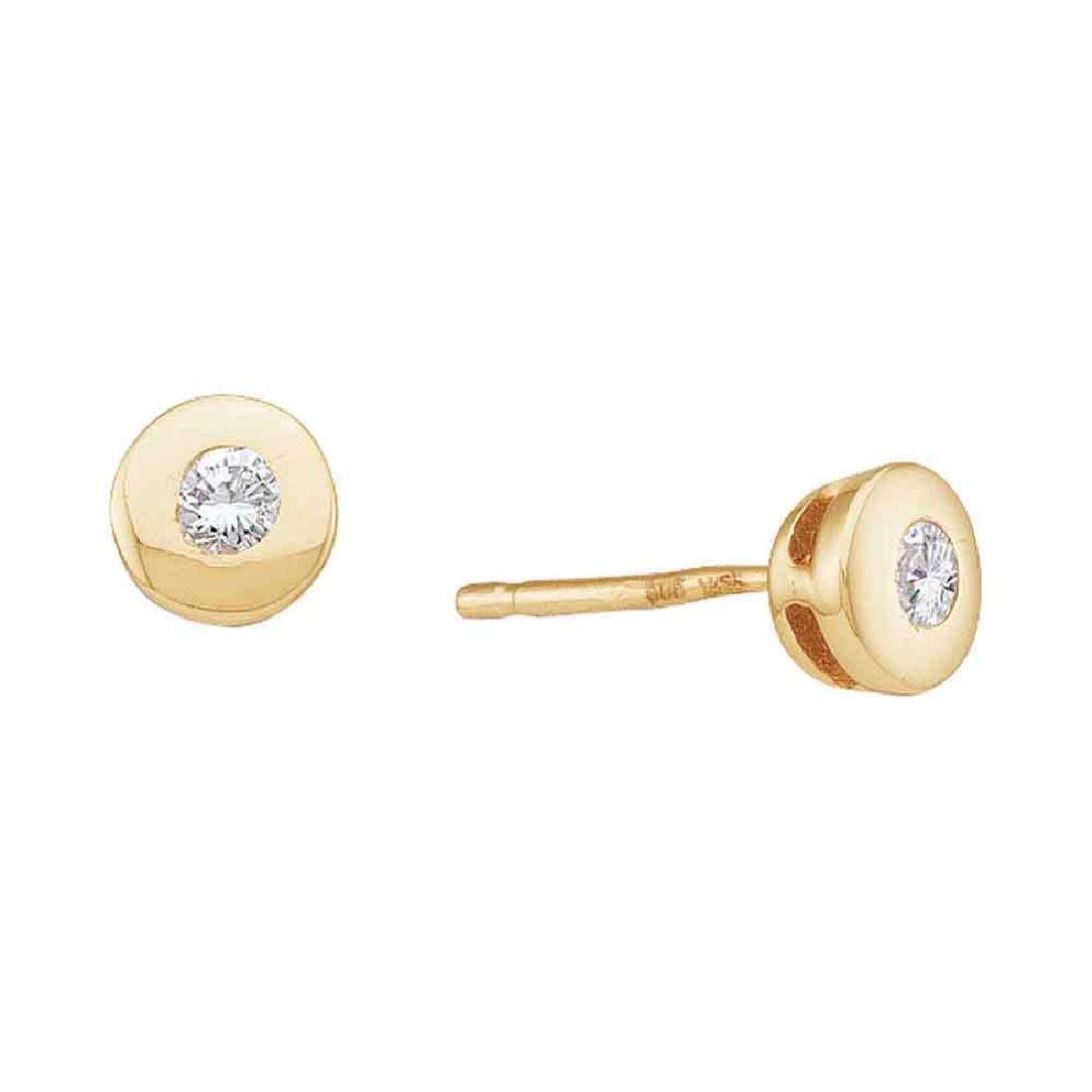0.10 CTW Diamond Solitaire Screwback Stud Earrings 14KT