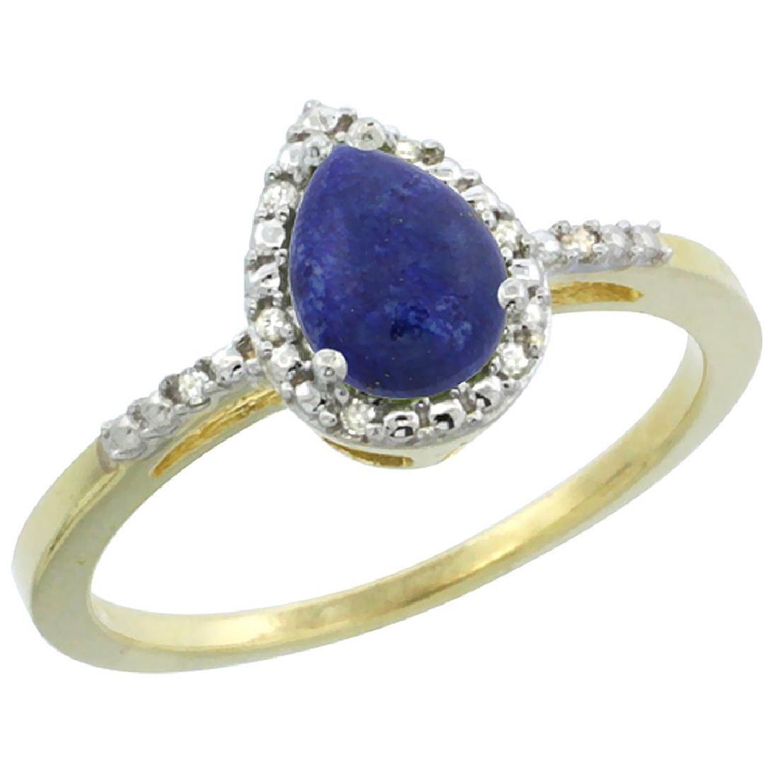 Natural 0.83 ctw lapis-lazuli & Diamond Engagement Ring