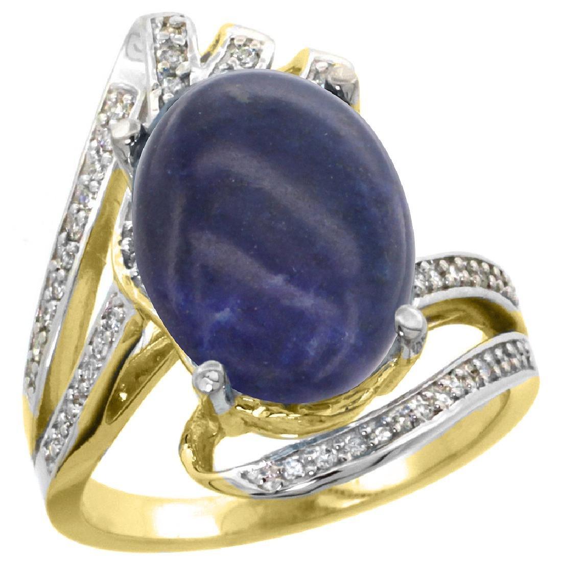 Natural 4.78 ctw lapis-lazuli & Diamond Engagement Ring