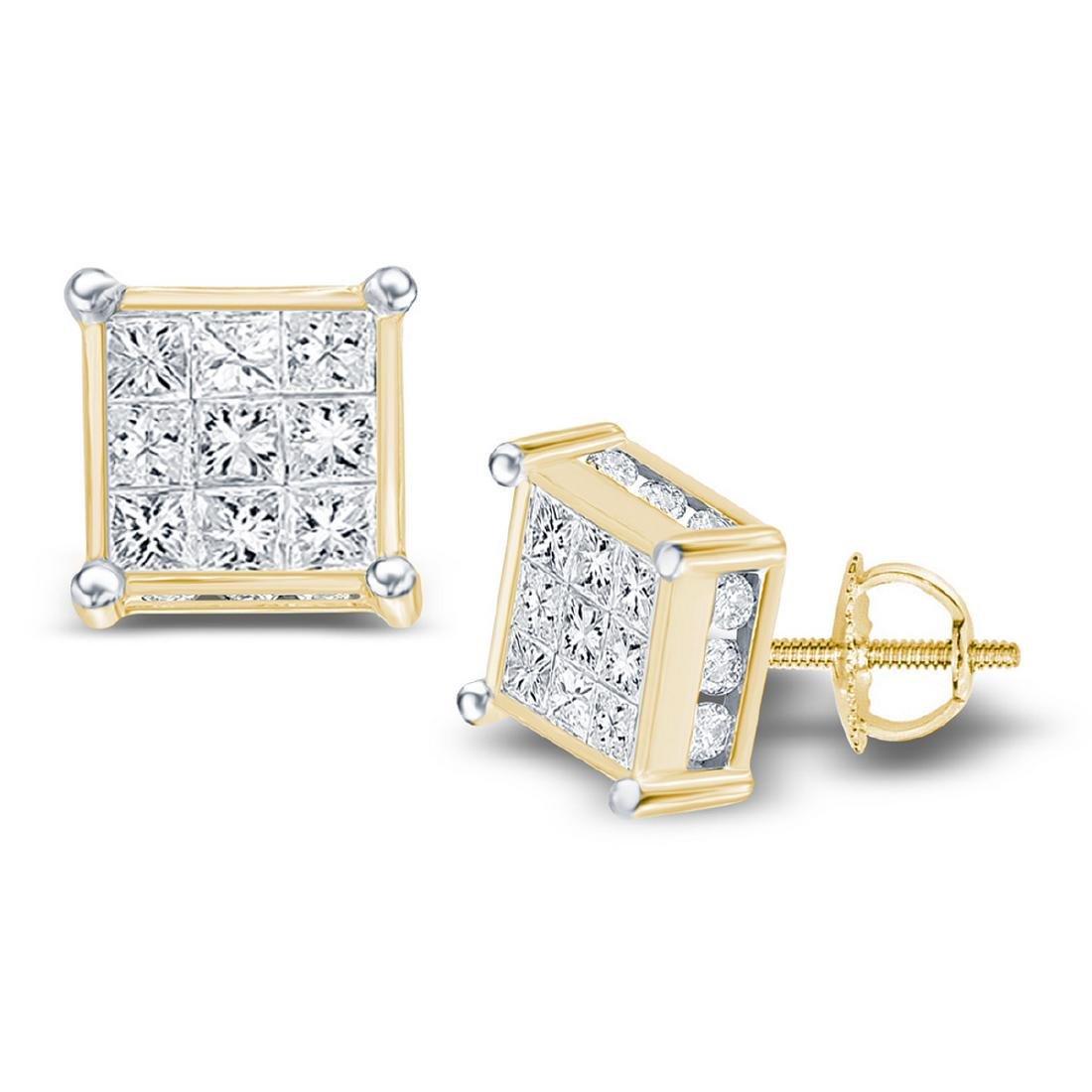 0.72 CTW Princess Diamond Square Cluster Stud Earrings