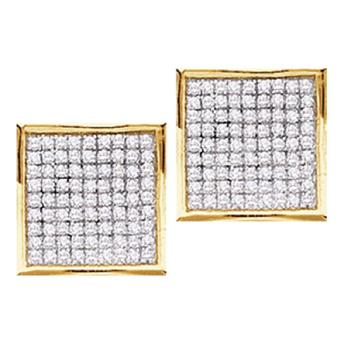 0.05 CTW Diamond Square Cluster Stud Earrings 10KT