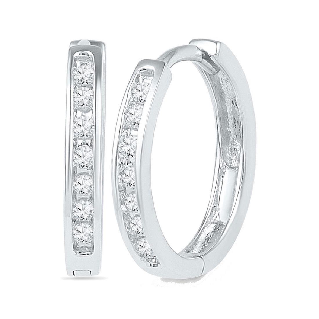 0.14 CTW Diamond Hoop Earrings 10KT White Gold -