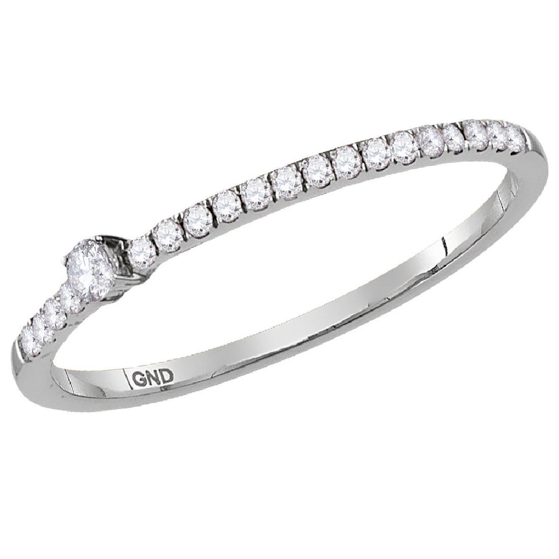 0.14 CTW Diamond Solitaire Stackable Ring 10KT White