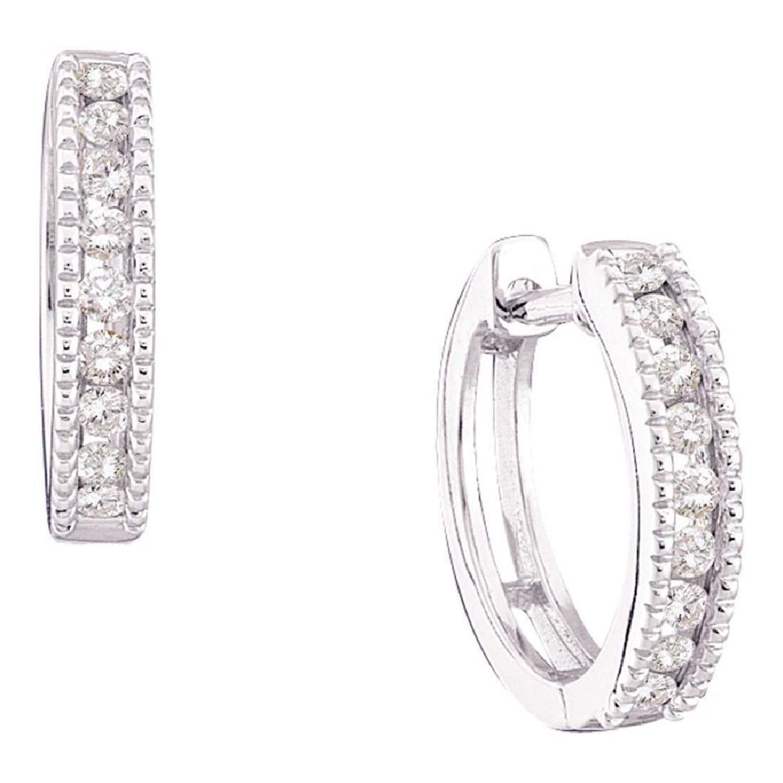 0.25 CTW Diamond Small Hoop Milgrain-Earrings 14k White
