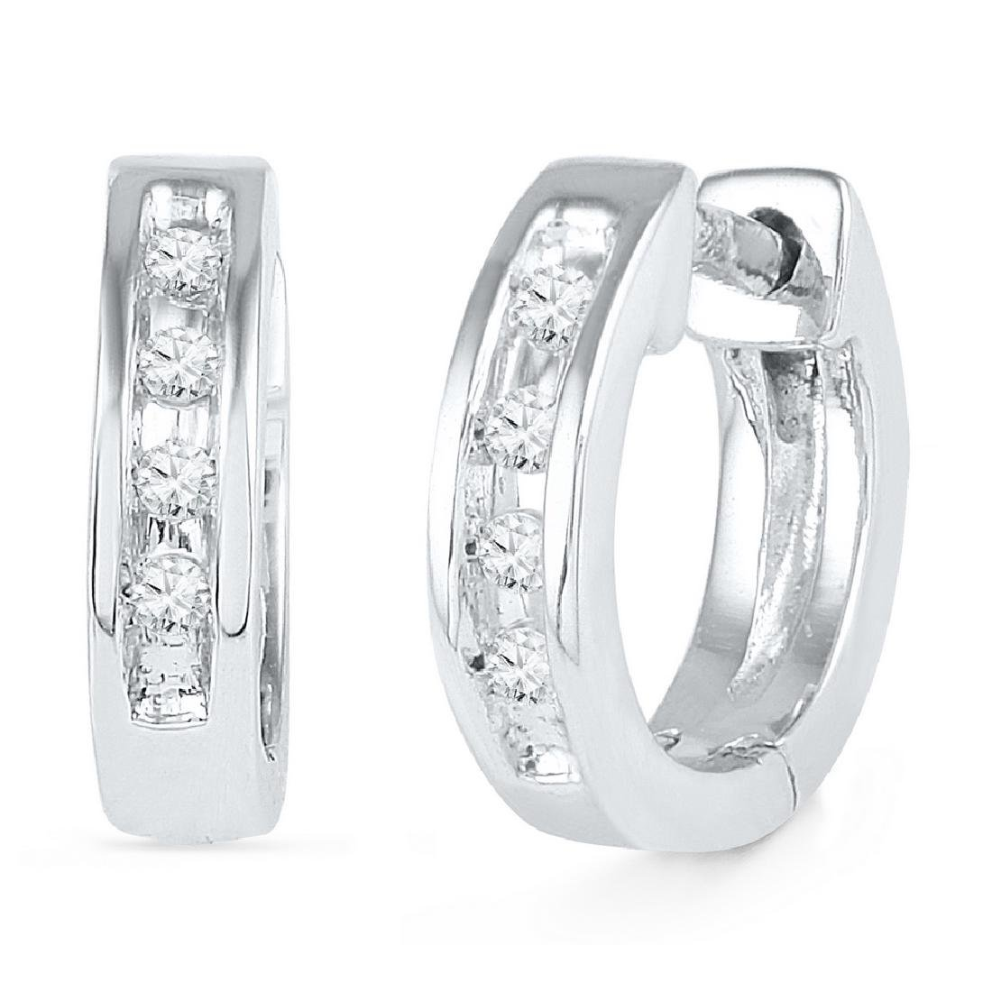 0.06 CTW Diamond Single Row Huggie Earrings 10KT White