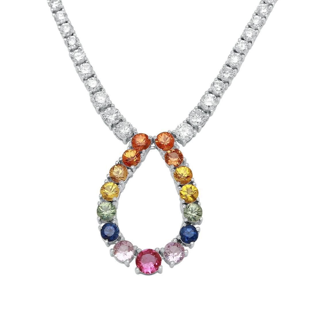10.13 CTW Multi-Color Sapphire & Diamond Necklace -