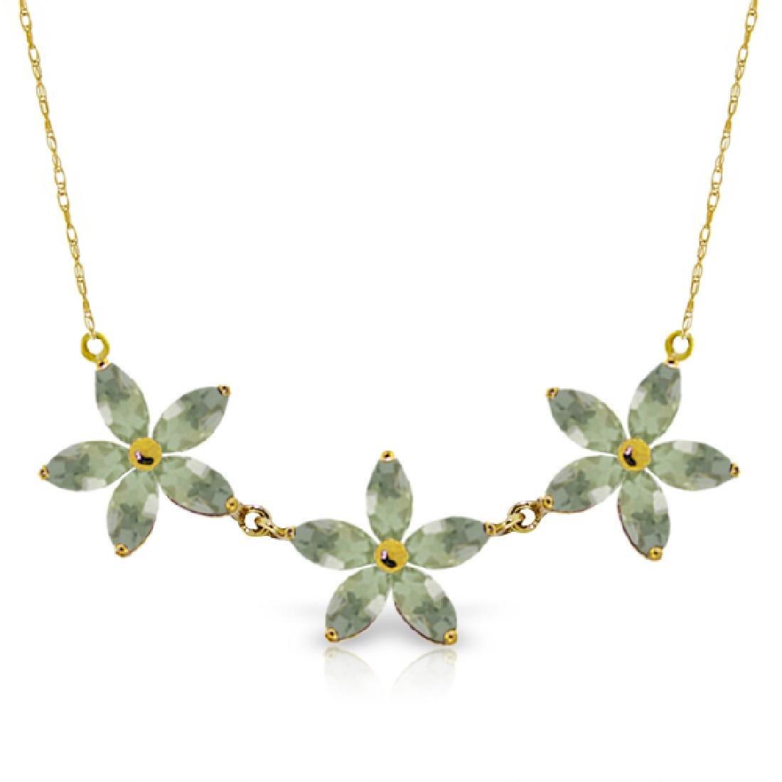 Genuine 4.2 ctw Green Amethyst Necklace Jewelry 14KT