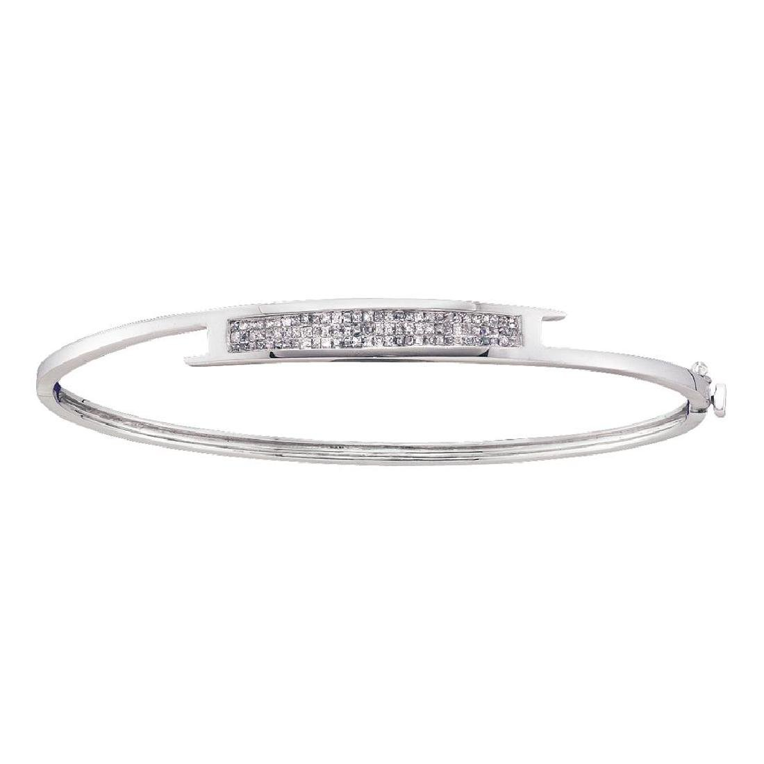 0.50 CTW Princess Diamond Bangle Bracelet 14KT White