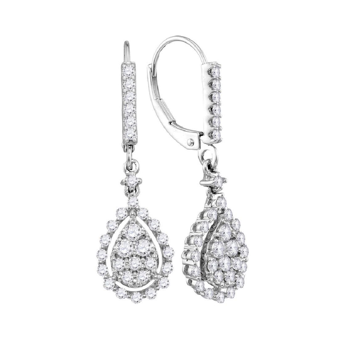 0.90 CTW Diamond Teardrop Cluster Dangle Earrings 14KT