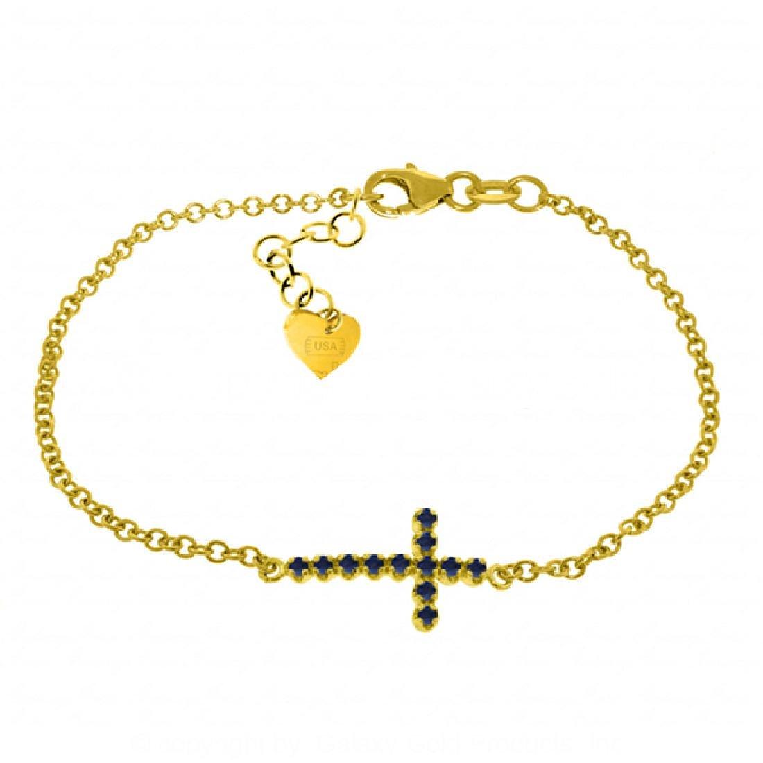 Genuine 0.30 CTW Sapphire Bracelet Jewelry 14KT Yellow