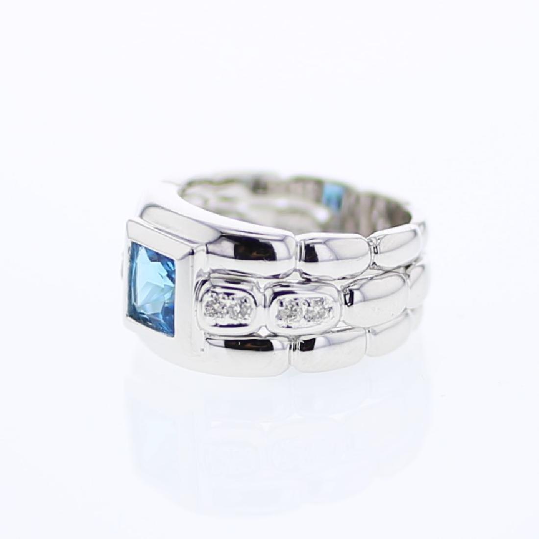 2.19 CTW Topaz & White Round Diamond Ring White Gold -