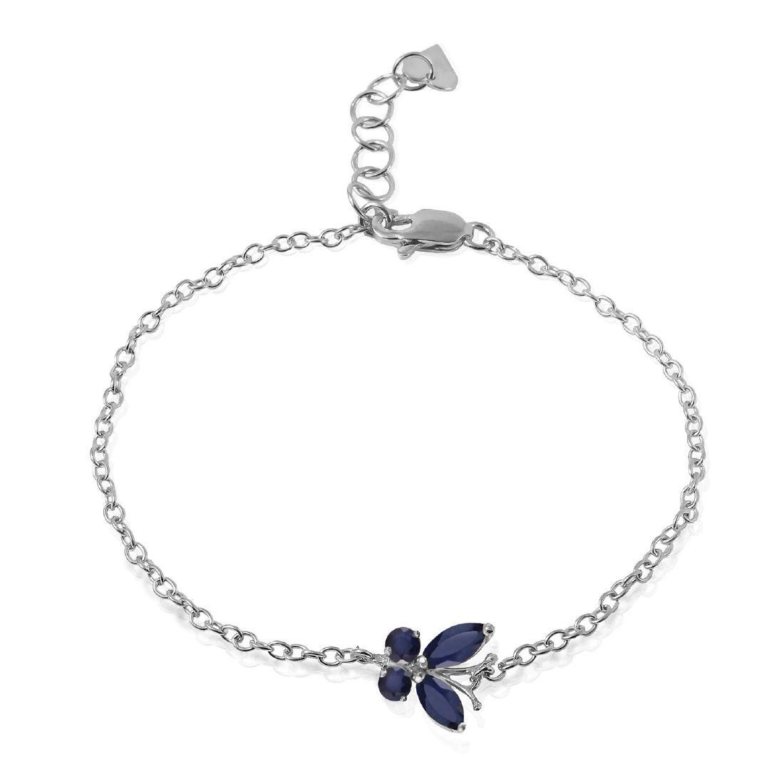 Genuine 0.60 ctw Sapphire Bracelet Jewelry 14KT White