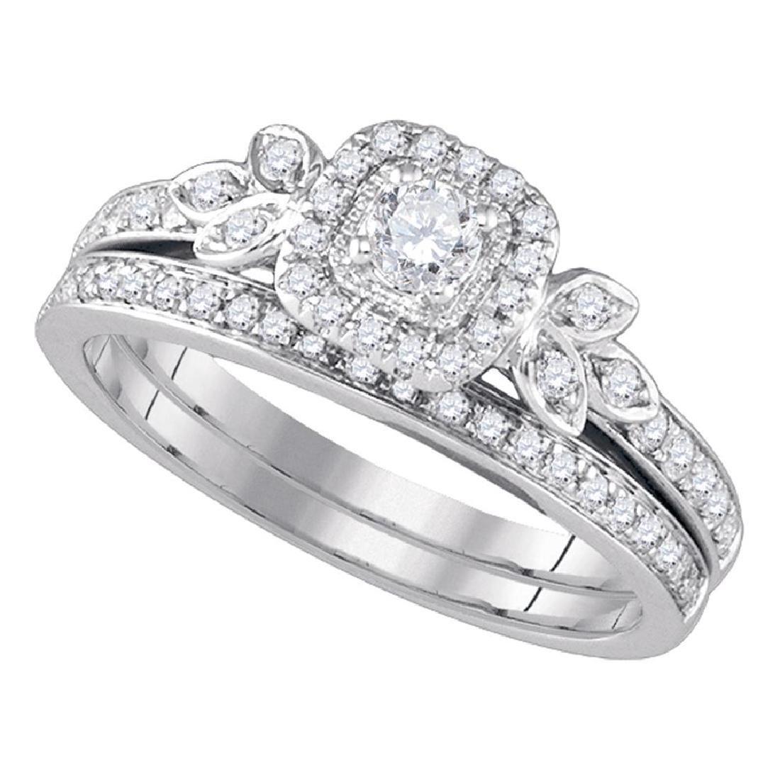 0.50 CTW Diamond Floral Halo Bridal Engagement Ring