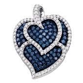 1.05 CTW Blue Color Diamond Tripled Heart Outline