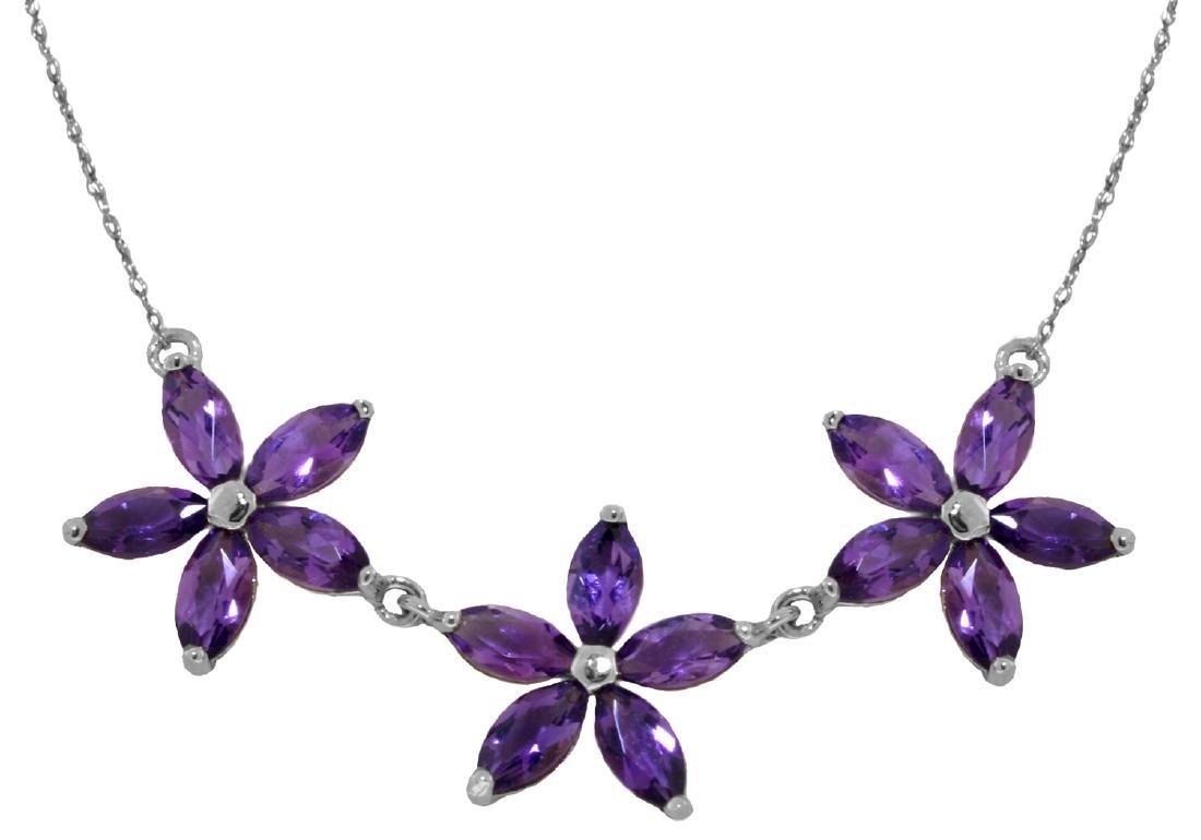 Genuine 4.2 ctw Amethyst Necklace Jewelry 14KT White