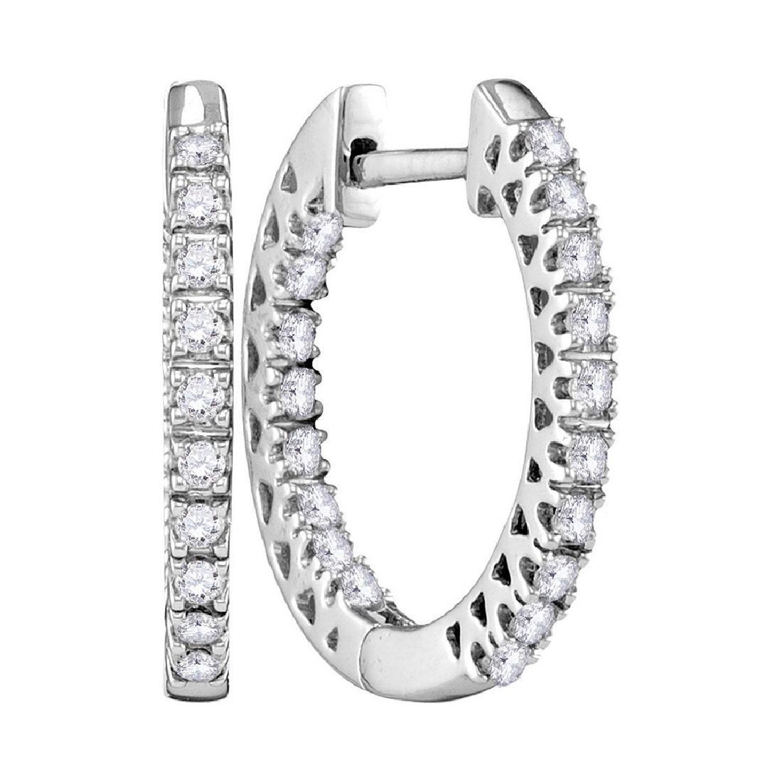 0.25 CTW Diamond Hoop Earrings 10KT White Gold -