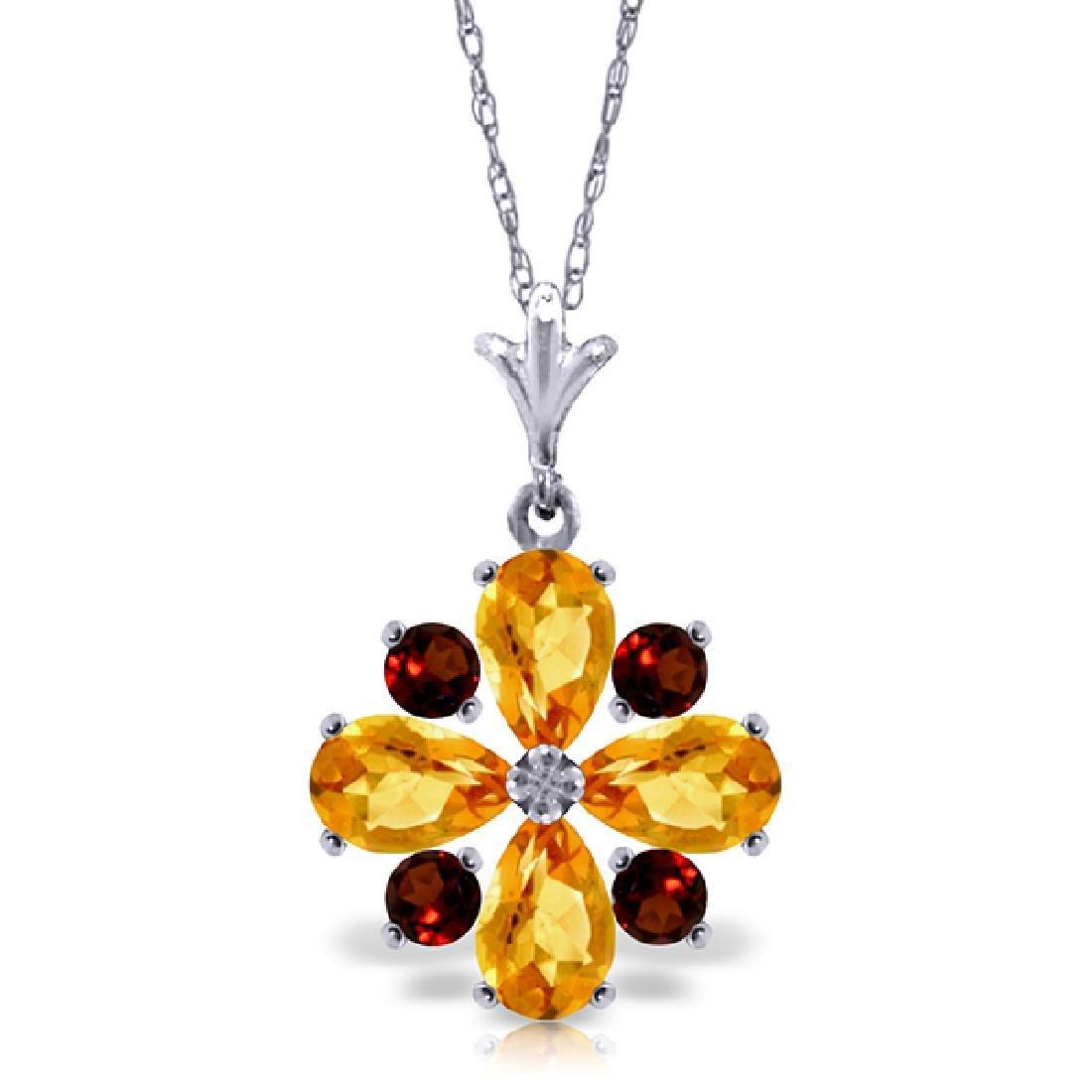 Genuine 2.43 ctw Citrine & Garnet Necklace Jewelry 14KT