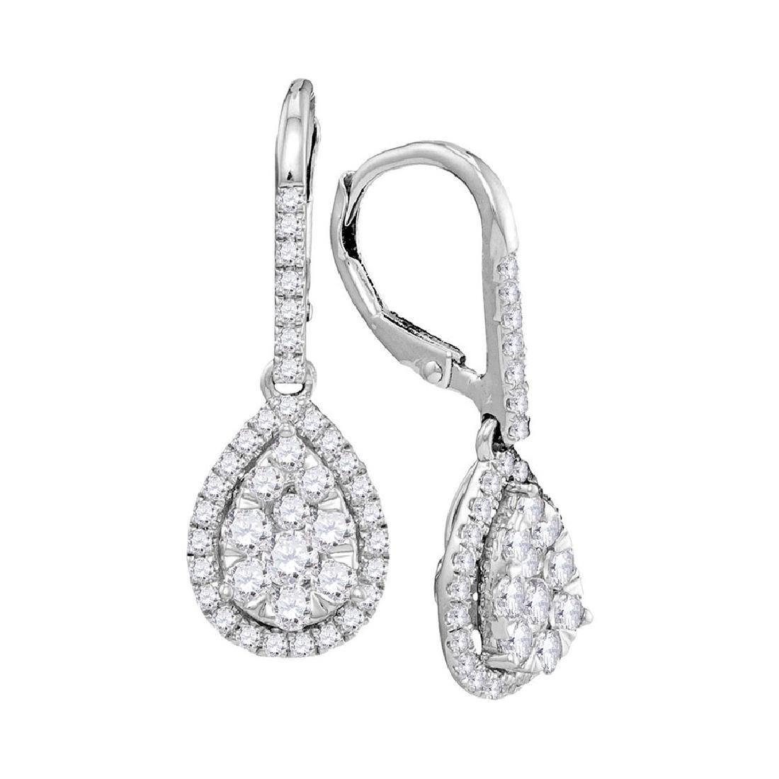 1.37 CTW Diamond Leverback Teardrop Dangle Earrings